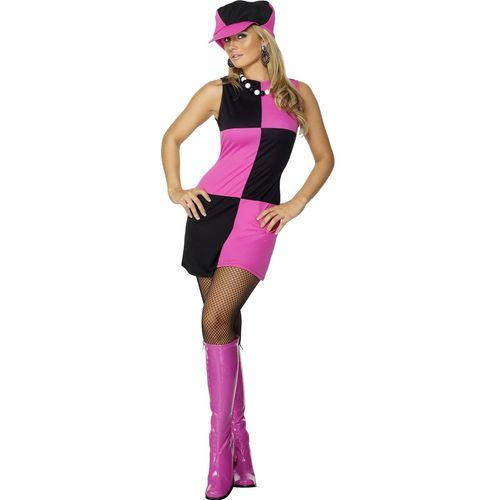 60`s Style Dress & Hat Fancy Dress Costume Size 12-14