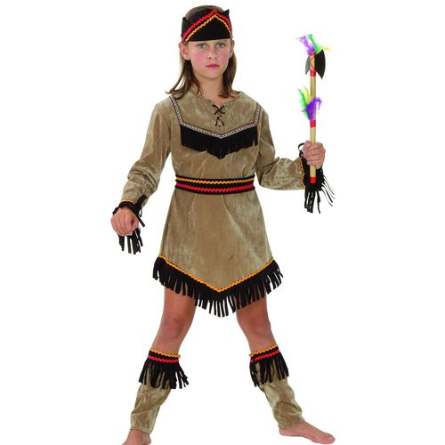 Childs Pocahontas Style Indian Girl Fancy Dress Costume Age 7-9 Years