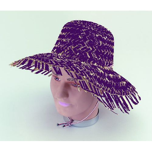 Calypso Beach Hawaiian Style Purple Caribbean Straw Hat Fancy Dress Accessory
