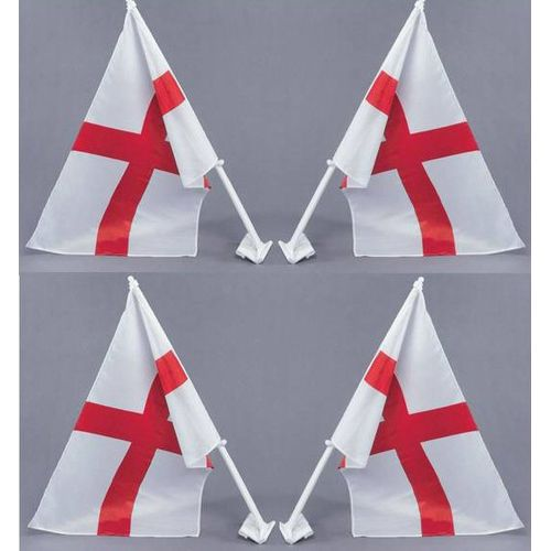 St George Cross Car Flags Approx 30cm x 45cm 4 Pack