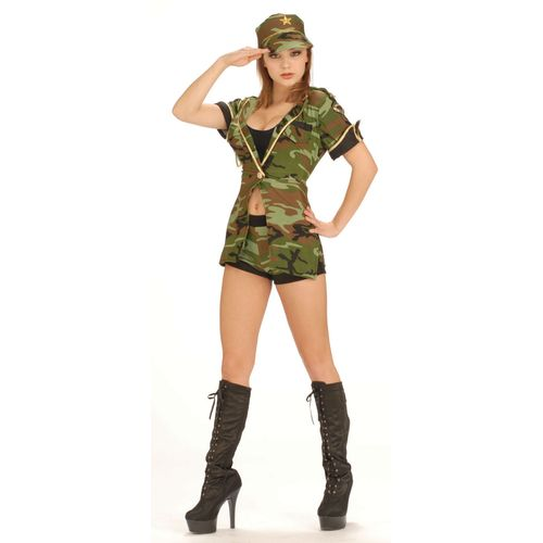 Army Camo Camoflage Combat Womens Sexy Fancy Dress Medium Size 10 - 12 Soldier