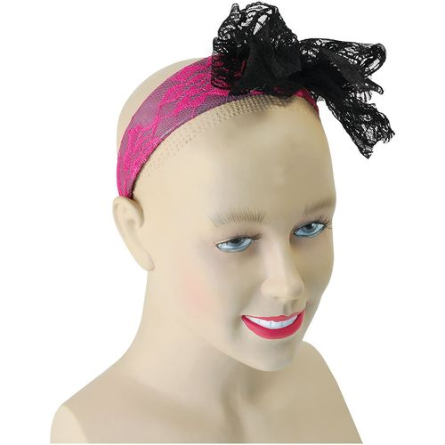 80`s 1980`s Headband Neon Pink With Black Lace Bow Fancy Dress Costume Accessory