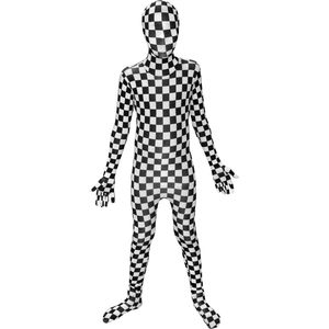 Childs Black White Check Morphsuit Age 8-10 Years