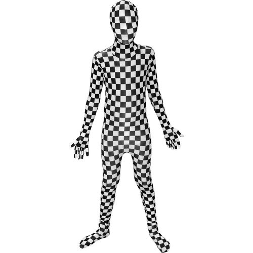 Childs Black White Check Official Morphsuit Fancy Dress Costume Age 8-10 Years