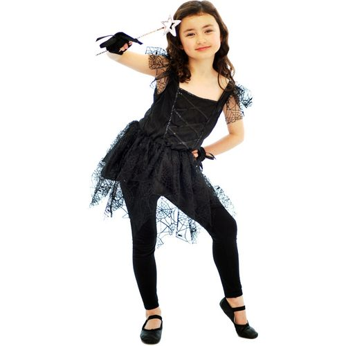 Childs Dark Fairy Ballerina Halloween Fancy Dress Costume Age 10-12 Years