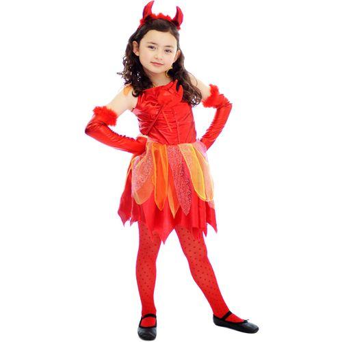 Childs Little Devil Girl Halloween Fancy Dress Costume Age 7-9 Years