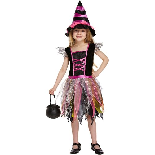 Childs Pink Witch Halloween Fancy Dress Costume Age 7-9 Years