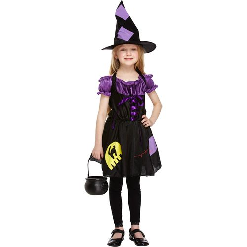 Childs Purple Witch Halloween Fancy Dress Costume Age 7-9 Years