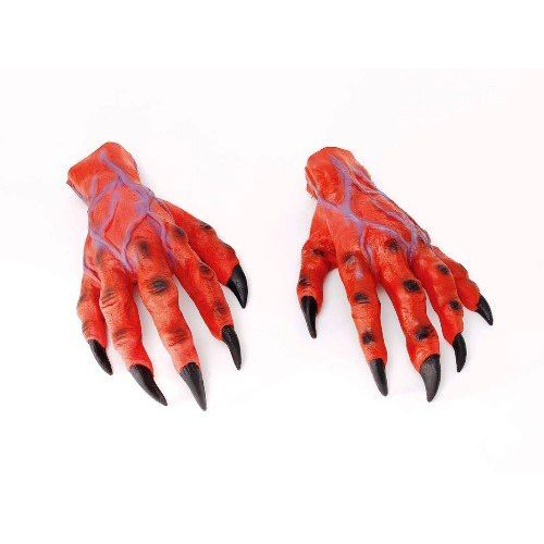 Red Devil Horror Monster Hands Halloween Fancy Dress Costume Accessory