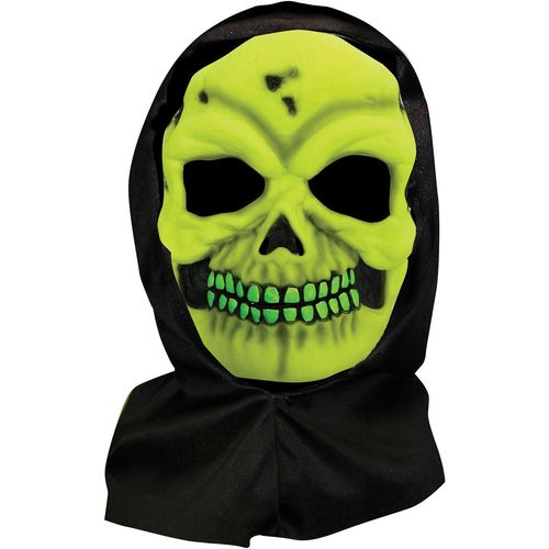 Neon Yellow Skull Hooded Halloween Fancy Dress Mask