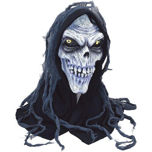 Corpse Hooded Mask Skeleton Skull Halloween Latex Rubber Face Dress