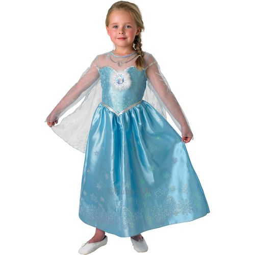 Deluxe Elsa Disney Frozen Princess Dress Size Large Age 7 - 8 Fancy Dress Up Official Costume Outfit