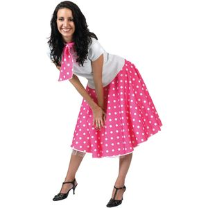 Fifties Rock N Roll Skirt & Scarf Size 10-14 (Pink)