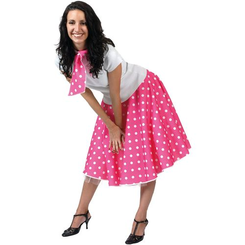 Pink Fifties Fancy Dress Rock N Roll Skirt & Scarf Size 10-14