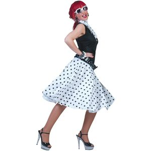 Fifties Rock 'N' Roll Skirt & Scarf Size 10-14 (White)