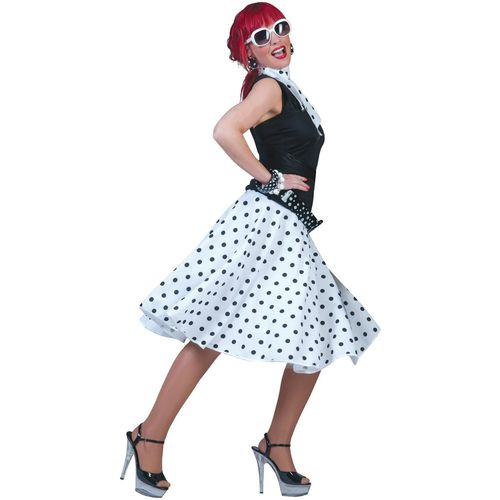 White Fifties Fancy Dress Rock 'N' Roll Skirt & Scarf Size 10-14