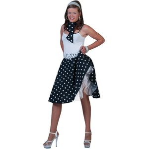 Fifties Rock 'N' Roll Skirt & Scarf Size 10-14 (Black)
