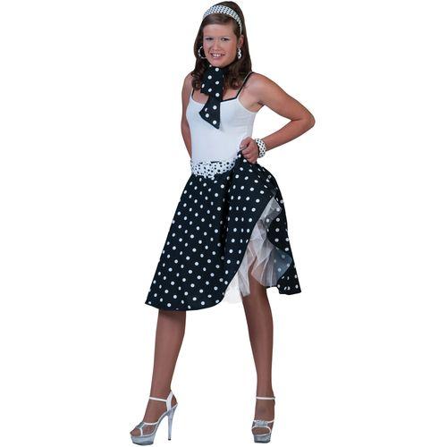 Black Fifties Fancy Dress Rock 'N' Roll Skirt & Scarf Size 10-14