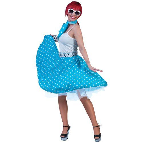 Blue Fifties Fancy Dress Rock 'N' Roll Skirt & Scarf Size 10-14