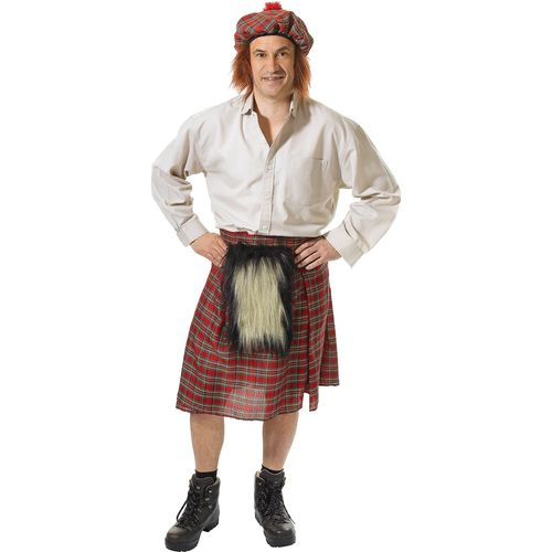 Scots Tartan Kilt With Sparran & Hat Scotland Stag Night Fancy Dress Costume