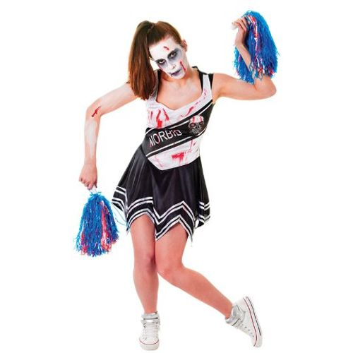 Zombie Cheerleader Halloween Fancy Dress Costume Size 10 - 14
