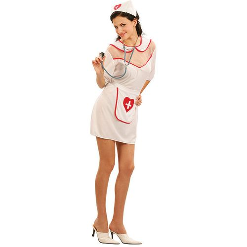 60`s Nurse Fancy Dress Costume Womens Size 10 - 12 Outfit