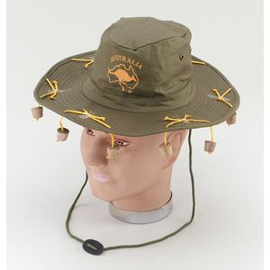 Australian Hat With Hanging Corks On String