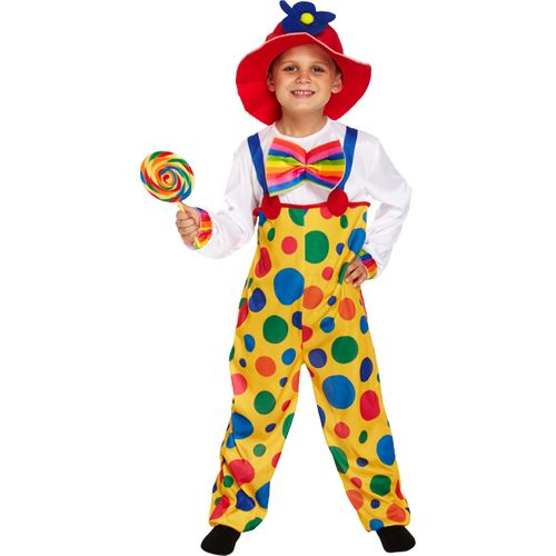 Childs Clown Fancy Dress Costume Age 7-9 Years