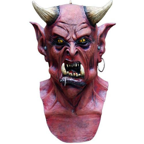 Uzzath Demon Devil Overhead Head & Chest Latex Mask Halloween Fancy Dress Accessory