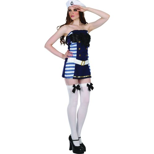 Flirty Sailor Girl Fancy Dress Womens Uniform Costume
