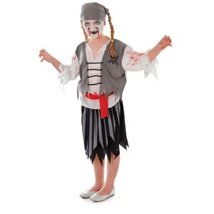 Zombie Pirate Girl Costume Age 4-6 Years