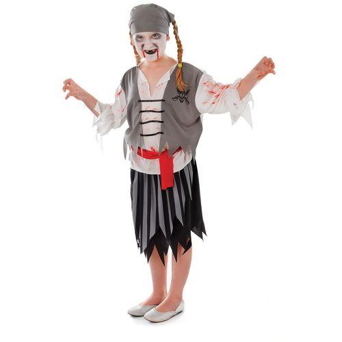 Zombie Pirate Girl Halloween Horror Fancy Dress Age 7 - 9 Years Costume
