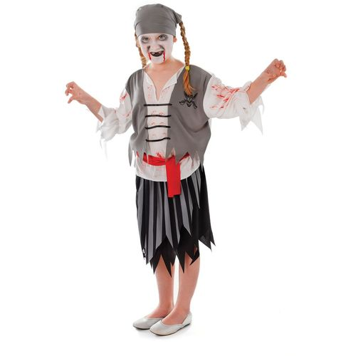 Childs Zombie Pirate Girl Halloween Fancy Dress Costume Age 10 - 12 Outfit
