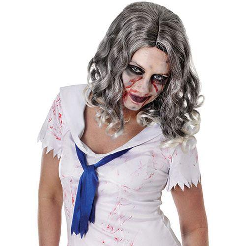 Halloween Grey Wavy Womens Wig Fancy Dress Accessory