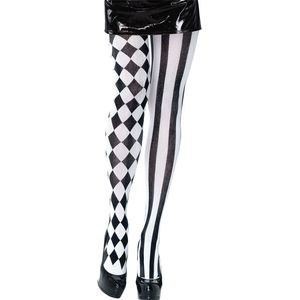 Harlequin Print Tights (Black & White)