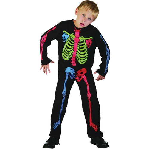 Skeleton Boy Costume With Multi Colour Bones Age 7-9 Years