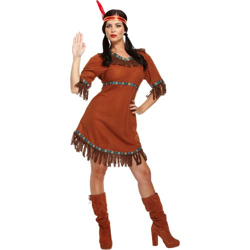 Red Indian Pochahontas Fancy Dress Style Costume Out Womens Ladies