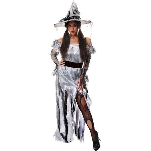 Zombie Princess Bride Witch Silver Halloween Fancy Dress Costume Size 10-14