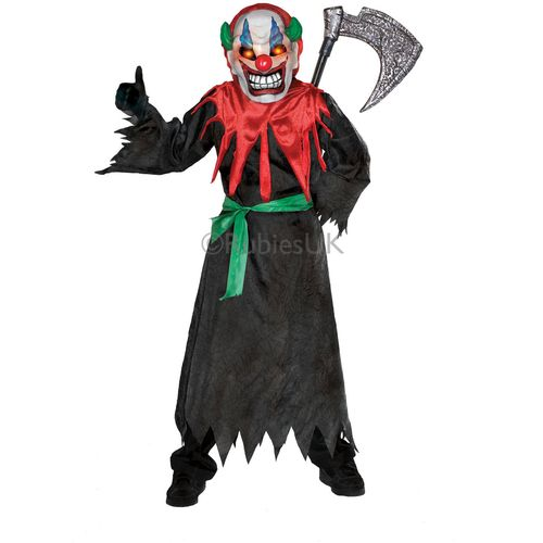 Childs Crazy Clown Halloween Fancy Dress Costume With Fashing Strobe Effect Age 5-7 Years
