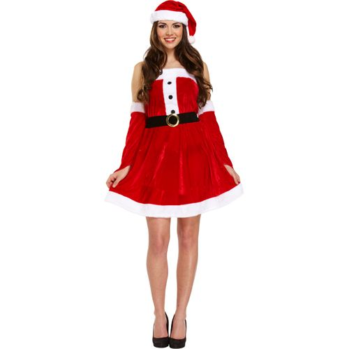 Sexy Miss Santa Christmas Fancy Dress Costume Standard Size (UK 10-14)