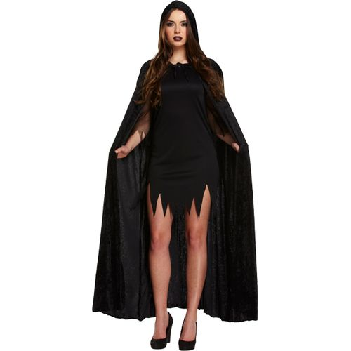 Velvet Black Hooded Cape Fancy Dress Costume Outfit Cloak