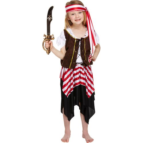 Buccaneer Pirate Girl Age 4 - 6 Fancy Dress Pirate Party Costume