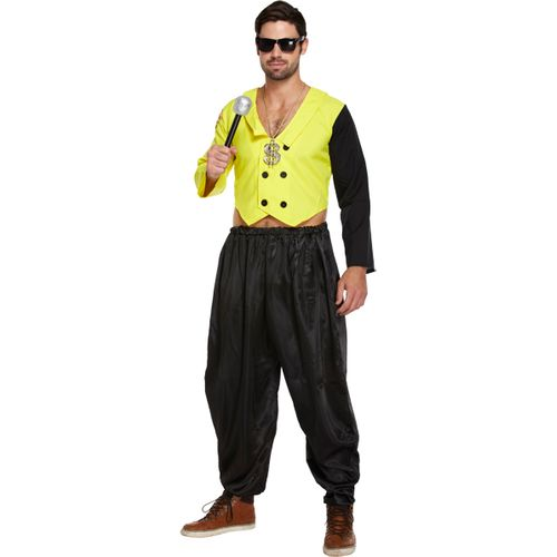 80`s Mc Hammer Rapper Rap King Fancy Dress Costume Mens M-L
