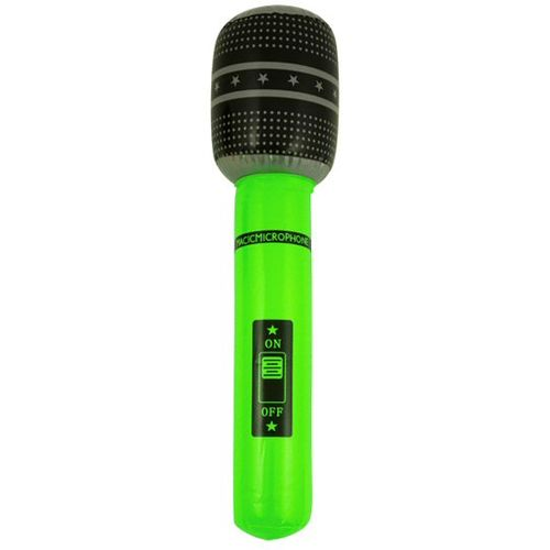 Neon Green Inflatable Microphone 40cm Fancy Dress Prop