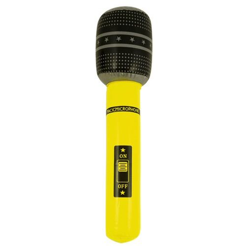 Inflatable Microphone 40cm Neon Colour Yellow Fancy Dress Stag Hen Night Accessory