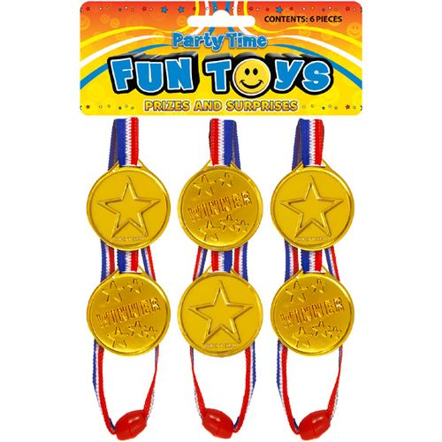 6 Pack Gold Medal Winner Sports Day Fancy Dress Toy Accessory