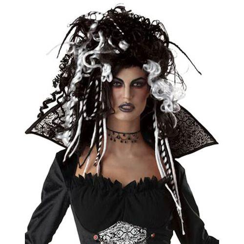 Eternal Seductress Wig Black & White Halloween Fancy Dress Wig