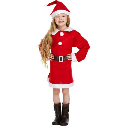Girls Santa Fancy Dress Costume Outfit Xmas Christmas Age 7-9