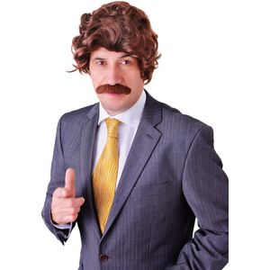Anchor-man Ron Burgundy Wig & Tash Set