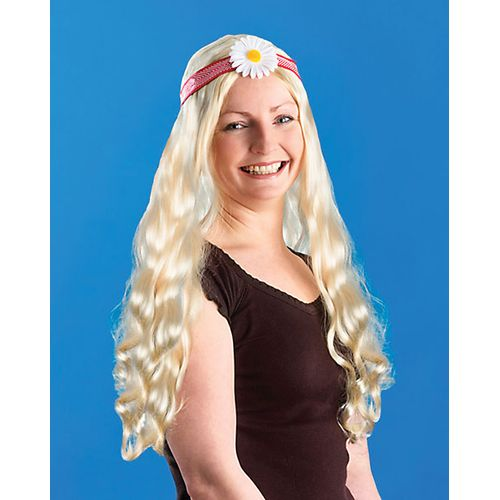 60`s Hippy Wig With Flower Fancy Dress Accessory